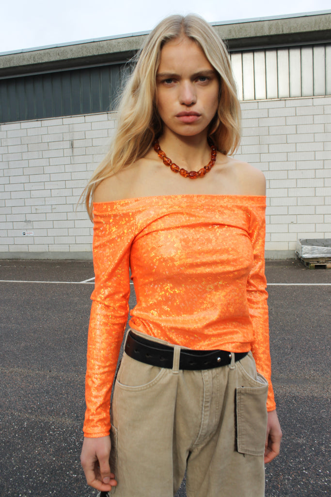 Herm Blouse — Orange Shimmer