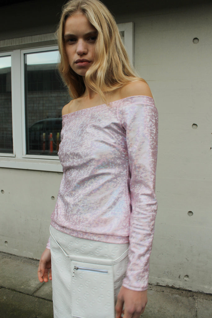 Herm Blouse — Baby Pink Shimmer