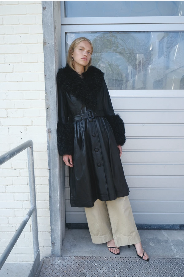Foxy Shearling Coat — Black