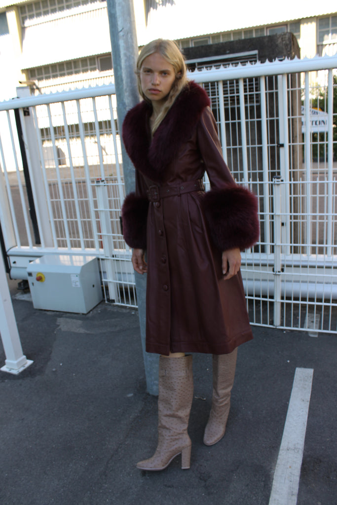 Foxy Coat — Wine Red