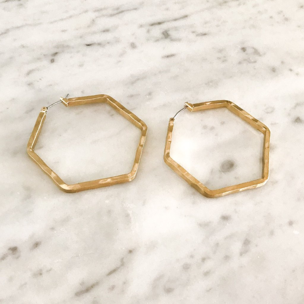 made hoops silver jewellery earrings mini hexagon