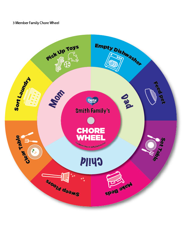 Make Your Own DIY Printable 3 Member Family Chore Wheel Example