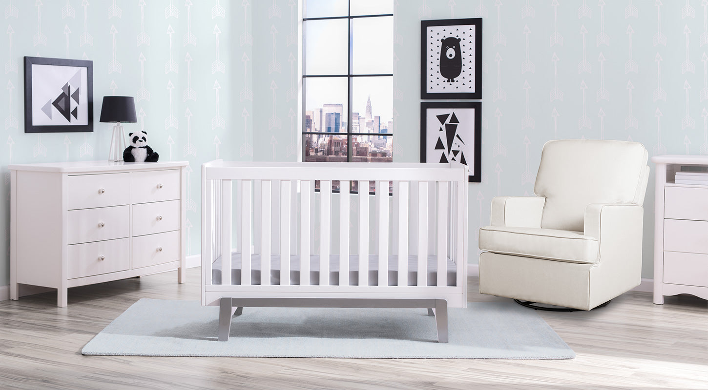 Aster in Bianca with Grey 6-Piece Nursery Furniture Set