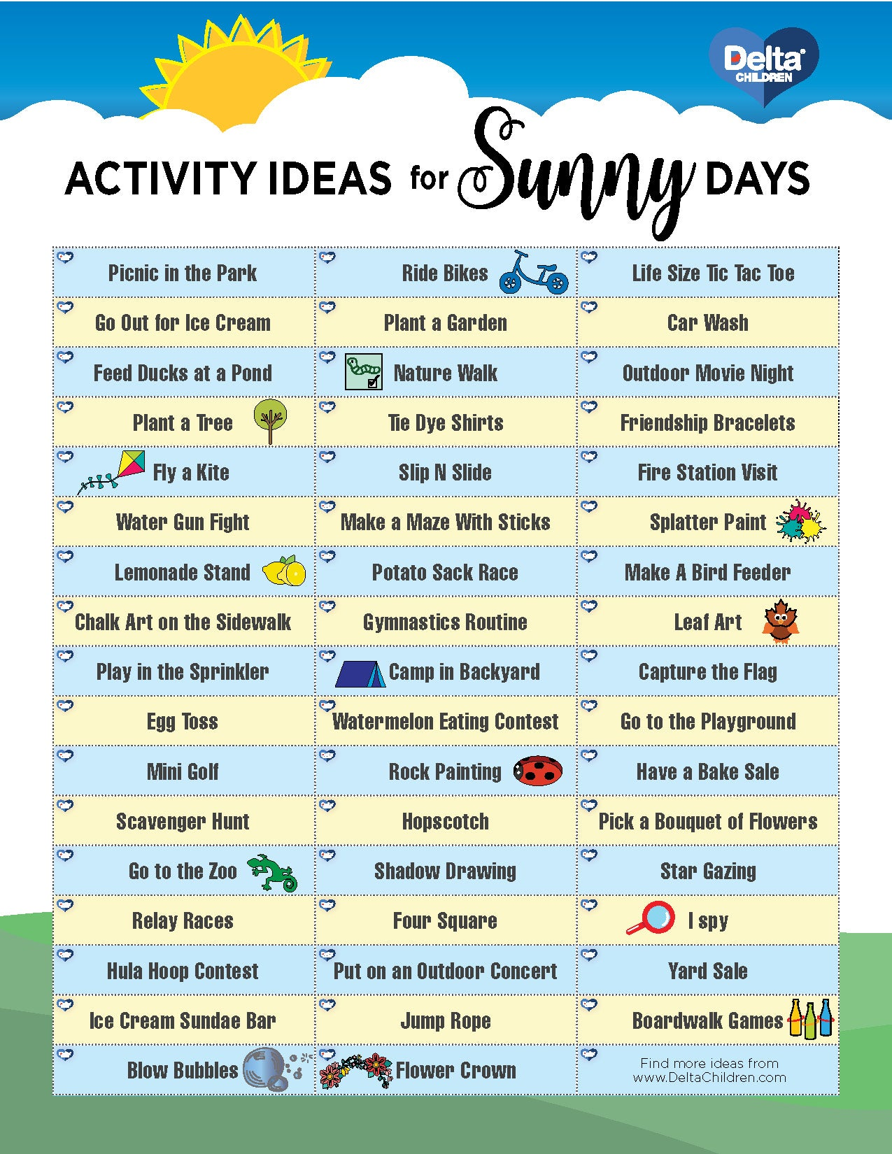 Infographic of outdoor activities for kids