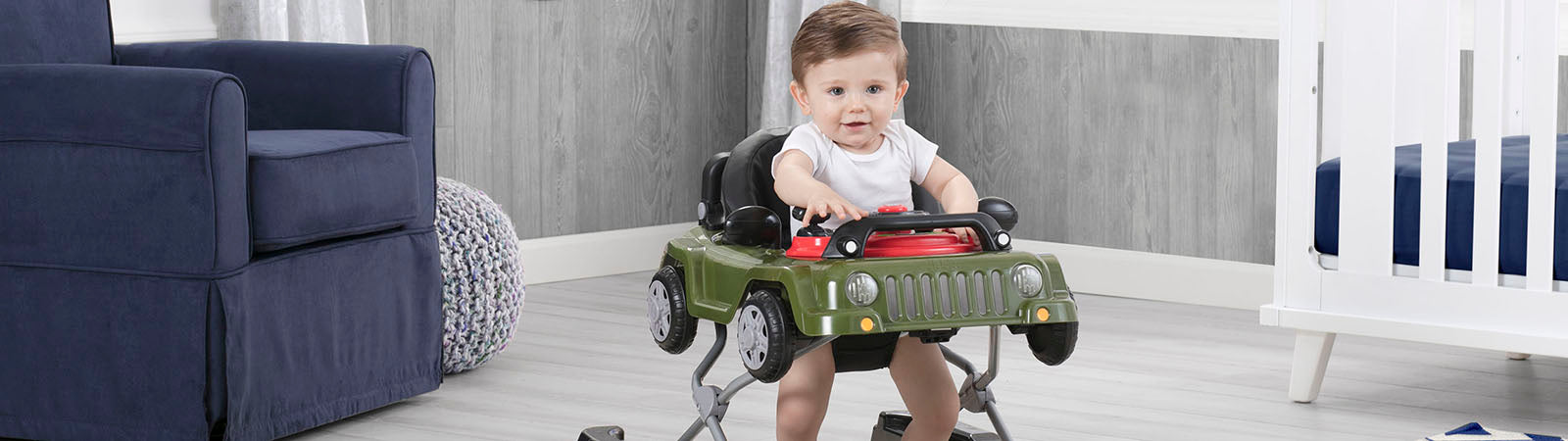 Boy playing in his Jeep Classic Wrangler Walker
