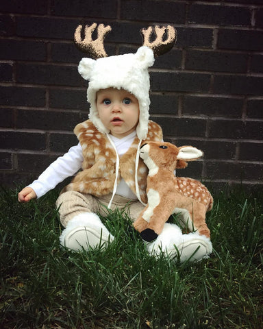 Baby dressed as a deer for HalloweenA Deer Costume for Bambi Lovers