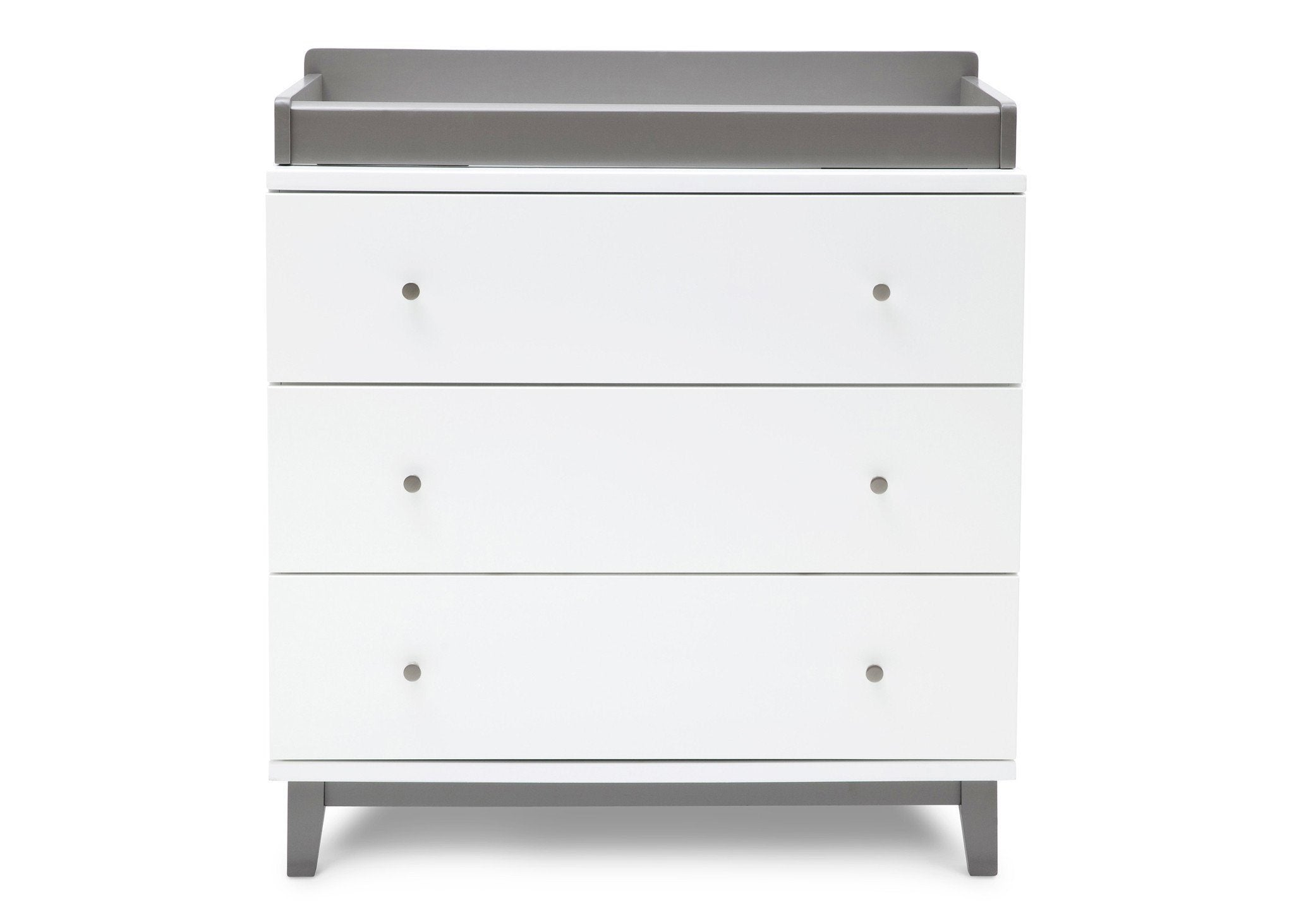 Delta Children White / Grey (027) Tribeca Three-Drawer Dresser Front View with Changing Top a3a