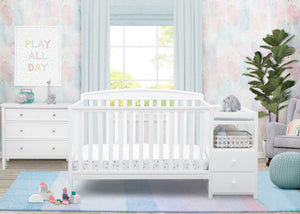 Delta Children White 100 Royal Crib 'N' Changer, Crib Conversion in Setting b1b White (100)