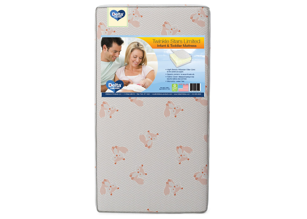 Delta Children Twinkle Stars Limited Fiber Core Crib and Toddler Mattress, Main View
