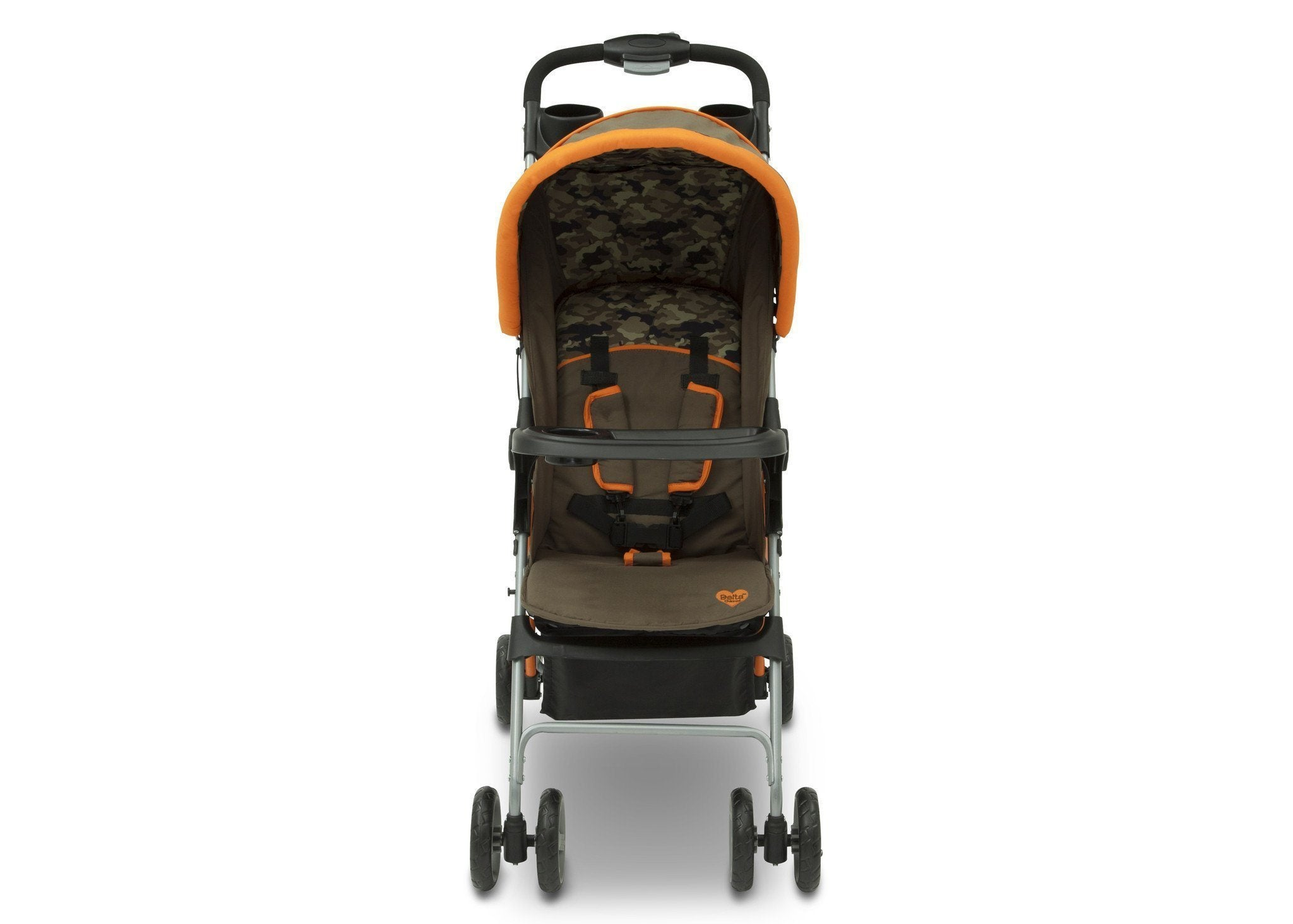 Delta Children Green Camo with Orange Accents (346) CX Rider Flat-Fold Stroller, Front View