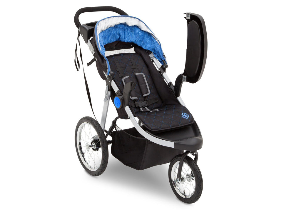 Delta Children J is for Jeep Brand Trek Blue Tonal (436) Cross Country All Terrain Jogging Stroller Right Side View b2b