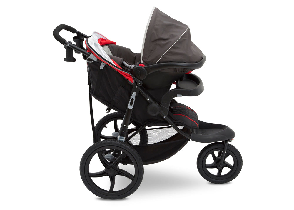 J is for Jeep® Brand Classic Jogging Stroller Classic Red (2018), Side View cfc