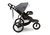 J is for Jeep® Brand Classic Jogging Stroller Grey (2094), Side View Stroller