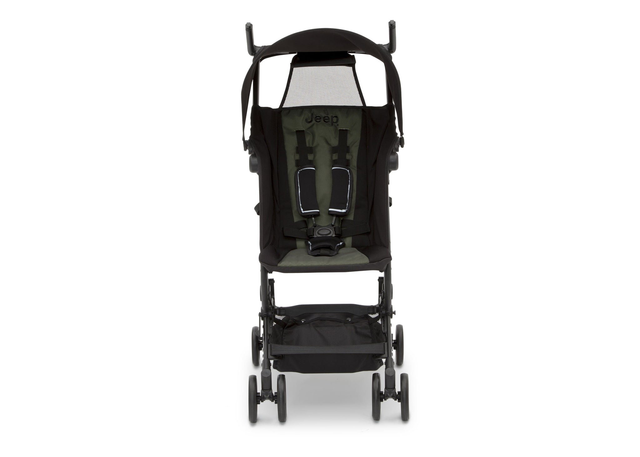 Jeep® Clutch Plus Travel Stroller with Reclining Seat Black with Olive Green (2182),  Reclining Seat Front View