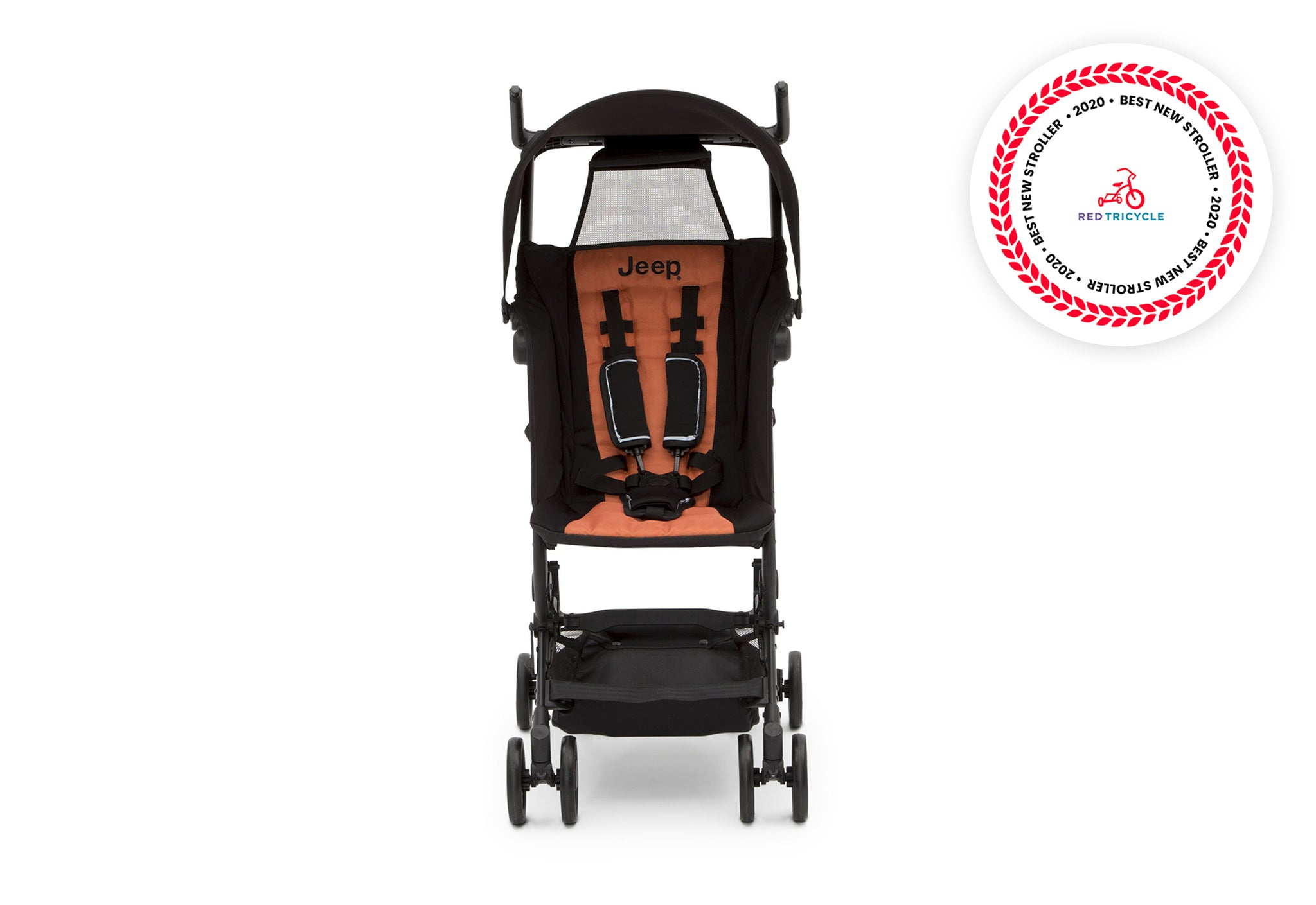 Jeep® Clutch Plus Travel Stroller with Reclining Seat Black with Orange (2183), Front View with reclining seat