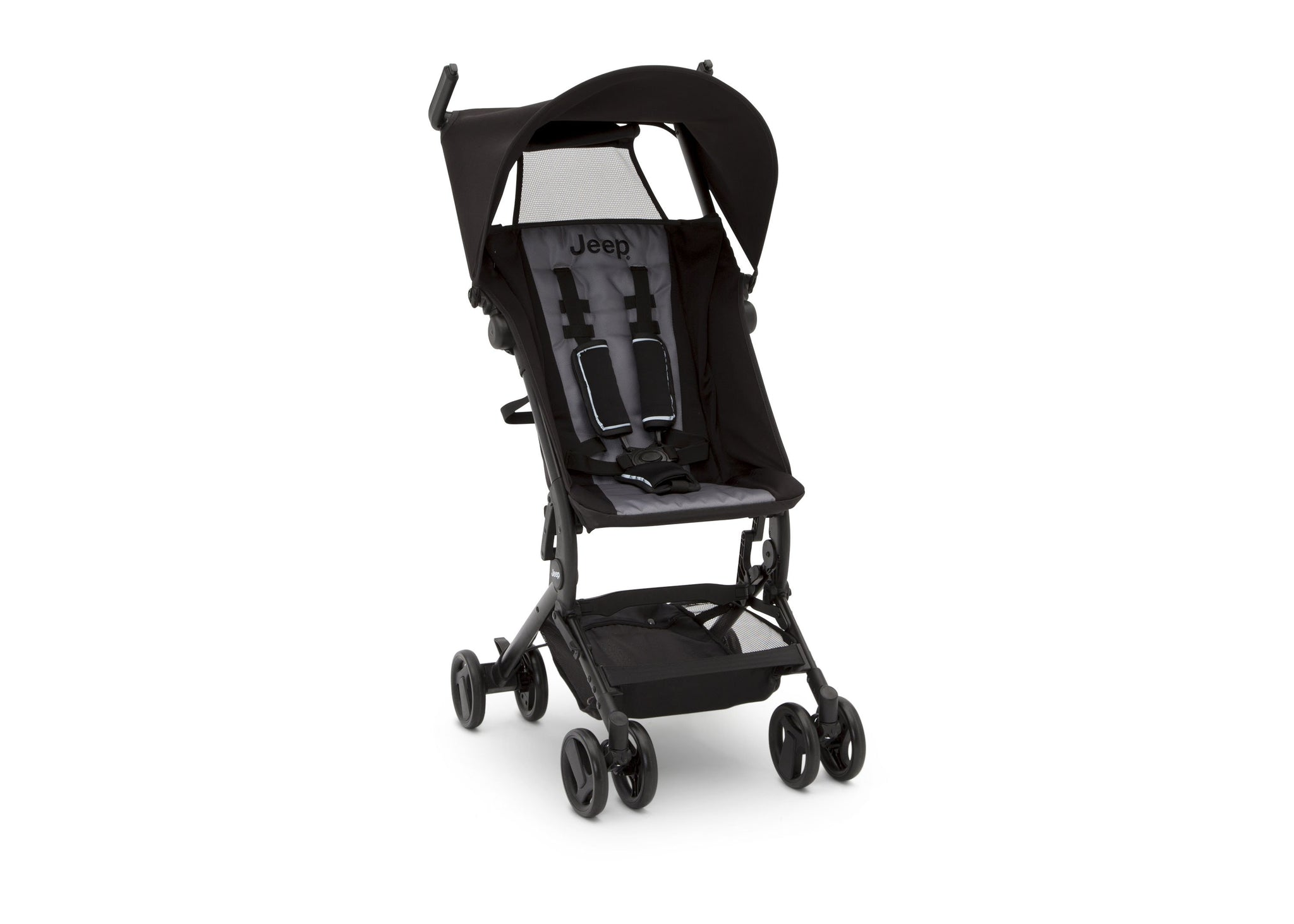 Jeep® Clutch Plus Travel Stroller with Reclining Seat Black with Grey (2184), Front  View