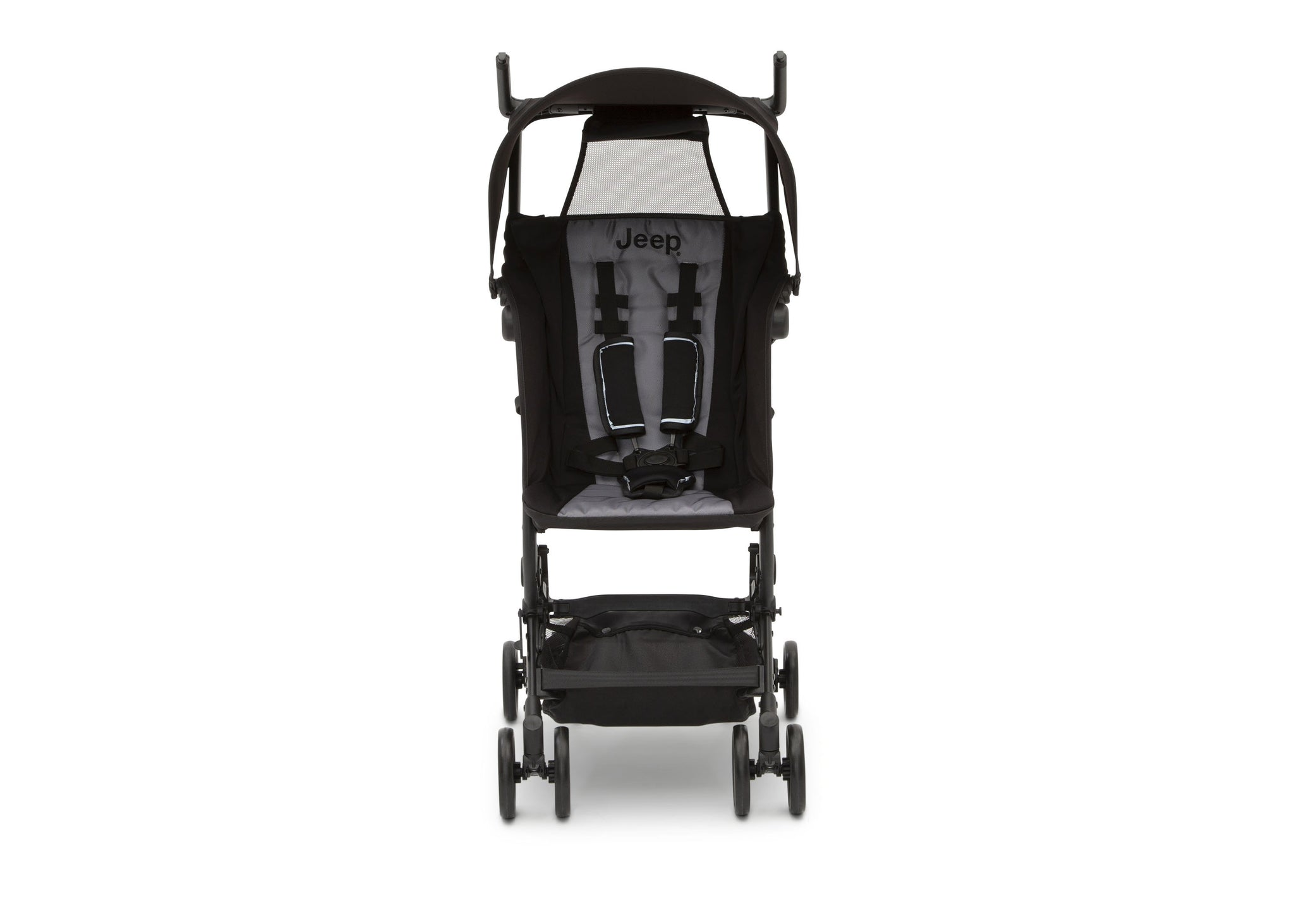 Jeep® Clutch Plus Travel Stroller with Reclining Seat Black with Grey (2184), Front View with reclining seat