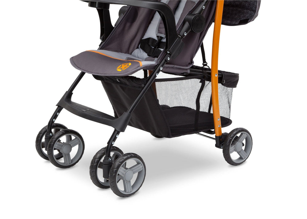 Delta Children Lunar J is for Jeep Brand Metro Stroller Front View, with Storage Space Detail
