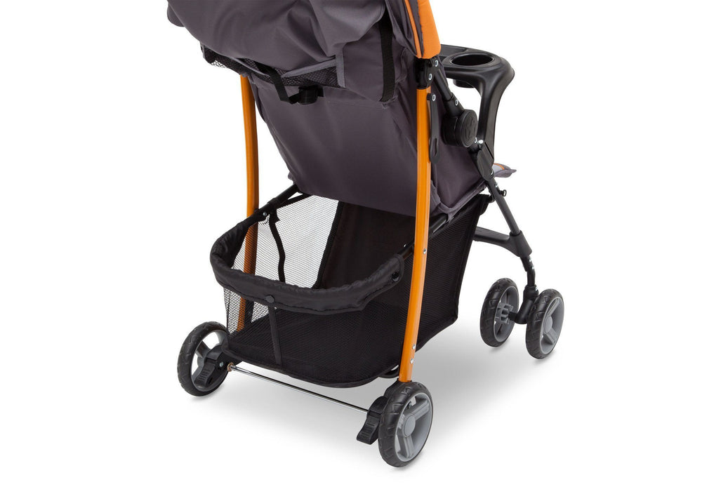 Delta Children Lunar J is for Jeep Brand Metro Stroller Back View, with Storage Space Detail