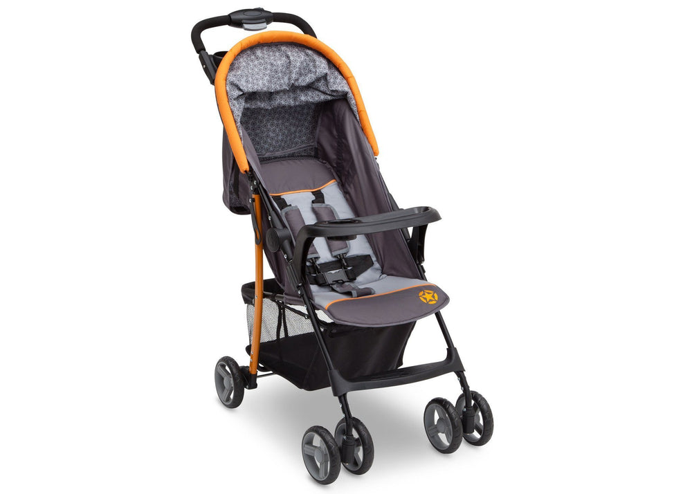 Delta Children Lunar J is for Jeep Brand Metro Stroller Right Side View, with Child Tray