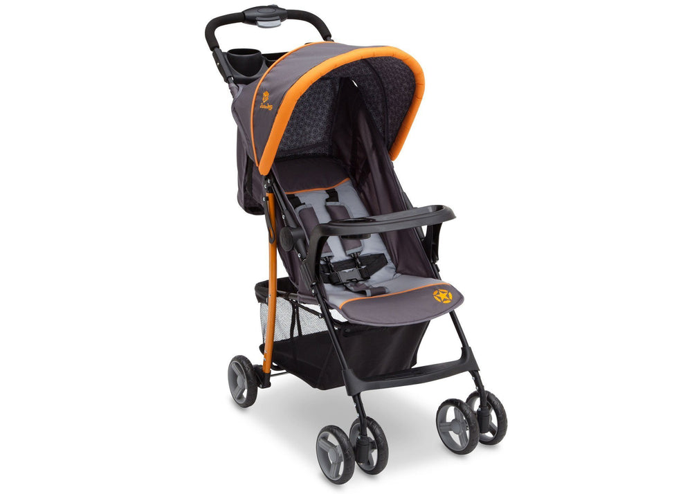 Delta Children Lunar (093) J is for Jeep Brand Metro Stroller Right Side View, with Canopy and Child Tray a1a