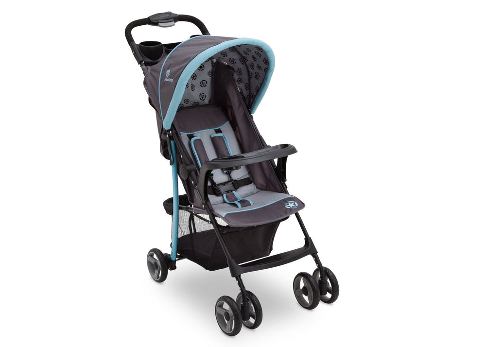 Delta Children Satellite (094) J is for Jeep Brand Metro Stroller Right Side View, with Canopy and Child Tray b1b