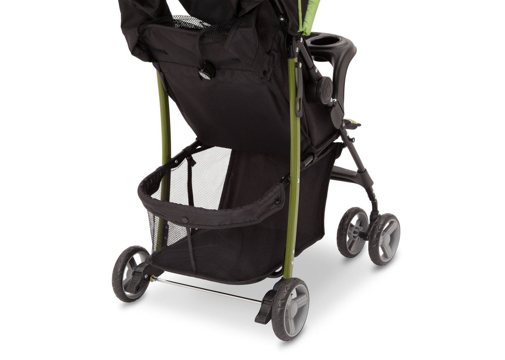 Delta Children Trekking J is for Jeep Brand Metro Stroller Back View, with Storage Space Detail
