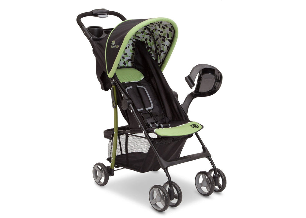 Delta Children Trekking J is for Jeep Brand Metro Stroller Right Side View, with Canopy