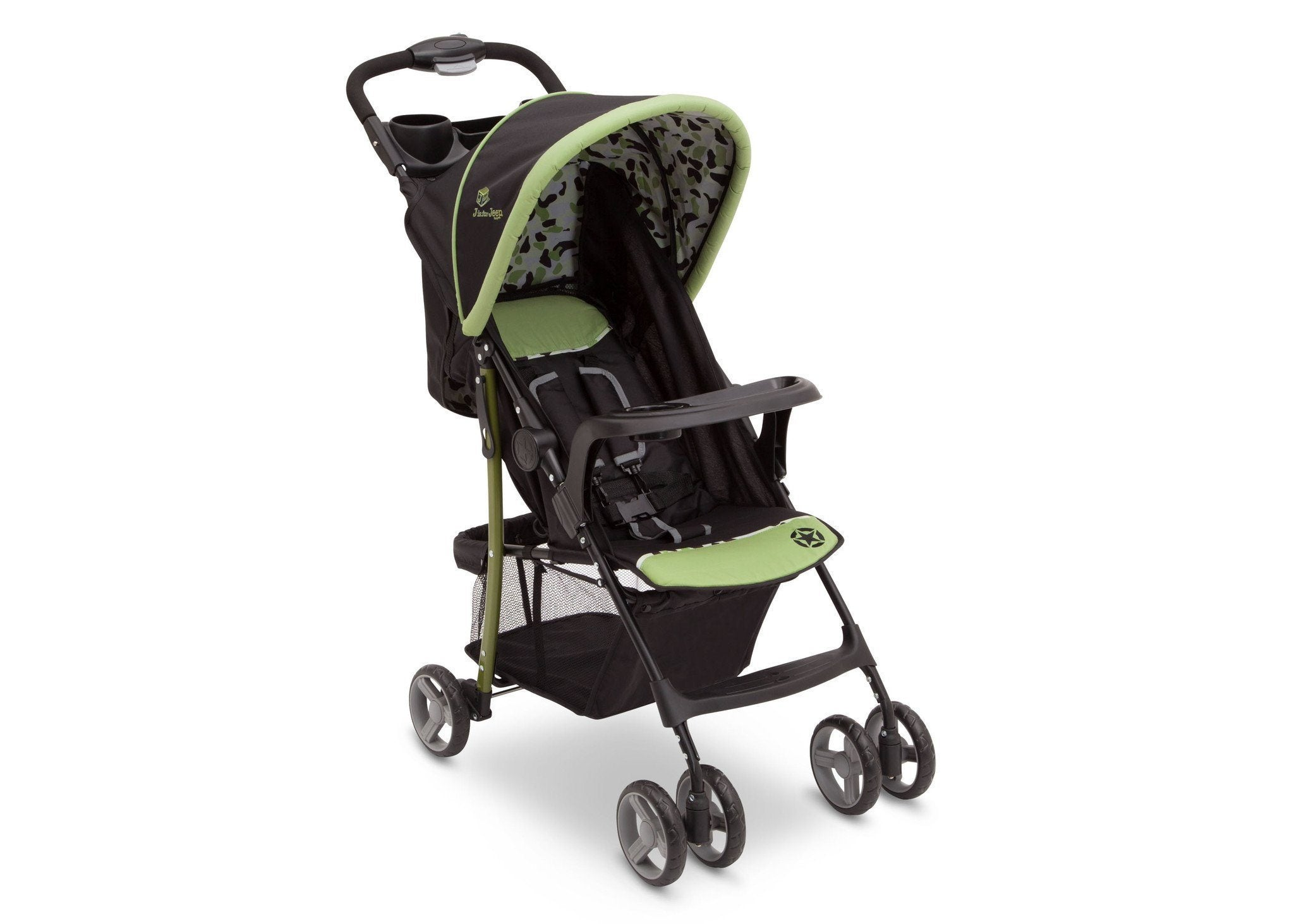 Delta Children Trekking (344) J is for Jeep Brand Metro Stroller Right Side View, with Canopy and Child Tray c1c