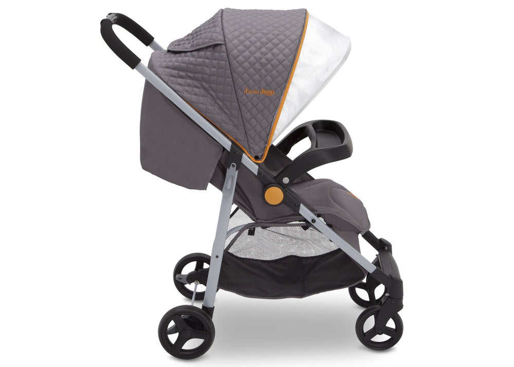 Delta Children J is for Jeep Brand Metro Plus Stroller, Galaxy (850) open canopy, Side View, a3a