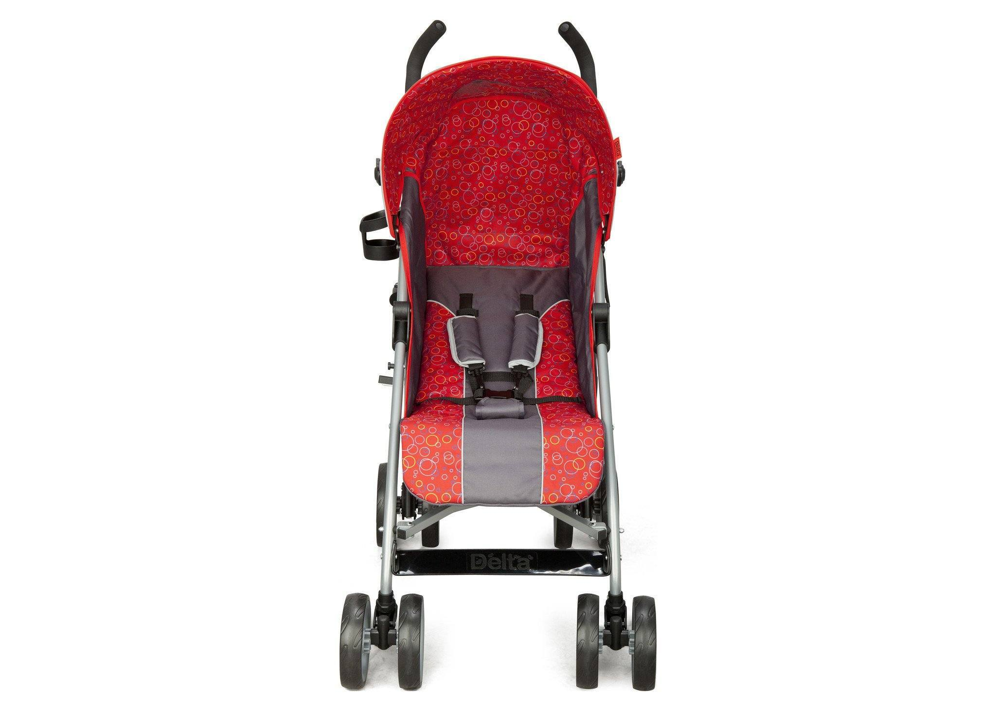 Delta Children Grey & Red (026) LX Stroller Front View b3b