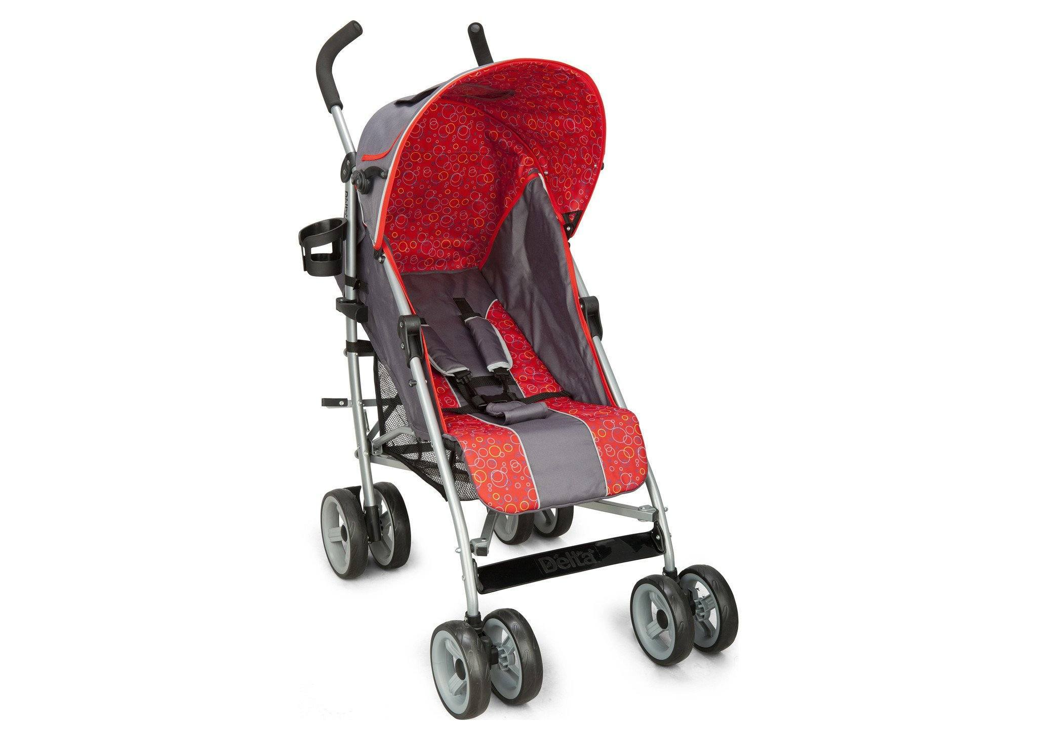 Delta Children Grey & Red (026) LX Stroller Right Side View b1b