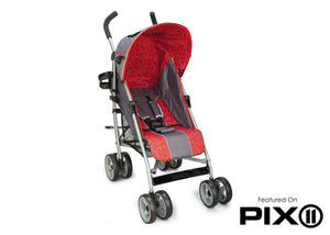 Delta Children Grey & Red (026) LX Stroller Front View b4b