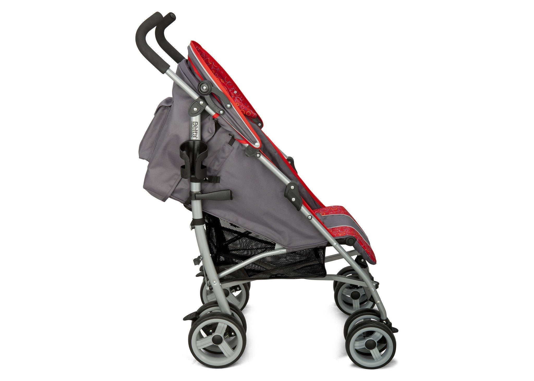 Delta Children Grey & Red (026) LX Stroller Side View b2b