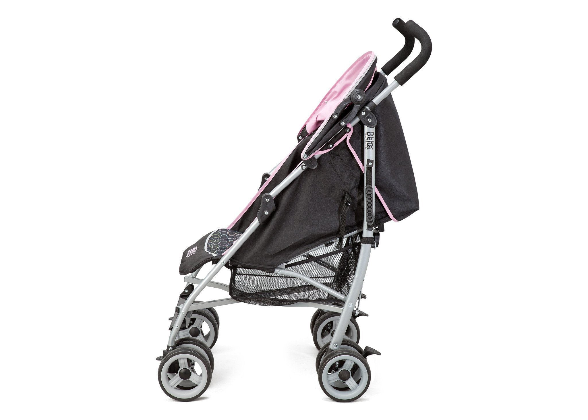 Delta Children Pink (019) Ultimate Convenience Stroller, Full Side View with Canopy Option a2a