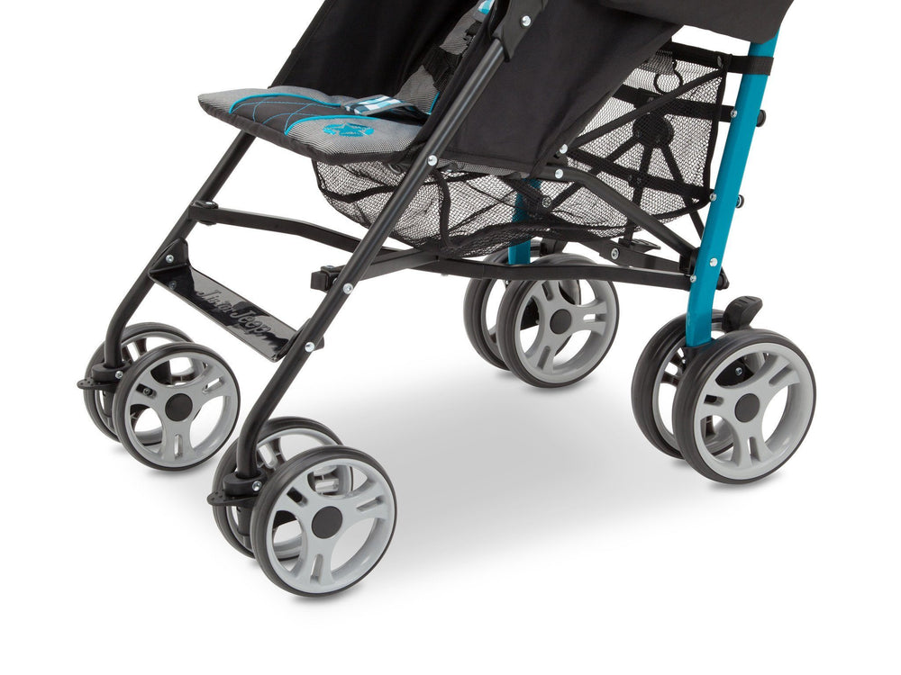Delta Children J is for Jeep Brand Scout Stroller Front View, with Storage Space Detail