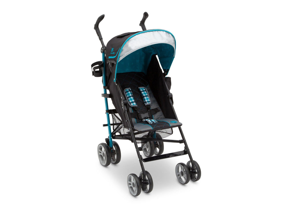Delta Children J is for Jeep Brand Scout Stroller Sag Harbor (429) Right Side View, with Canopy and Sun Visor a1a