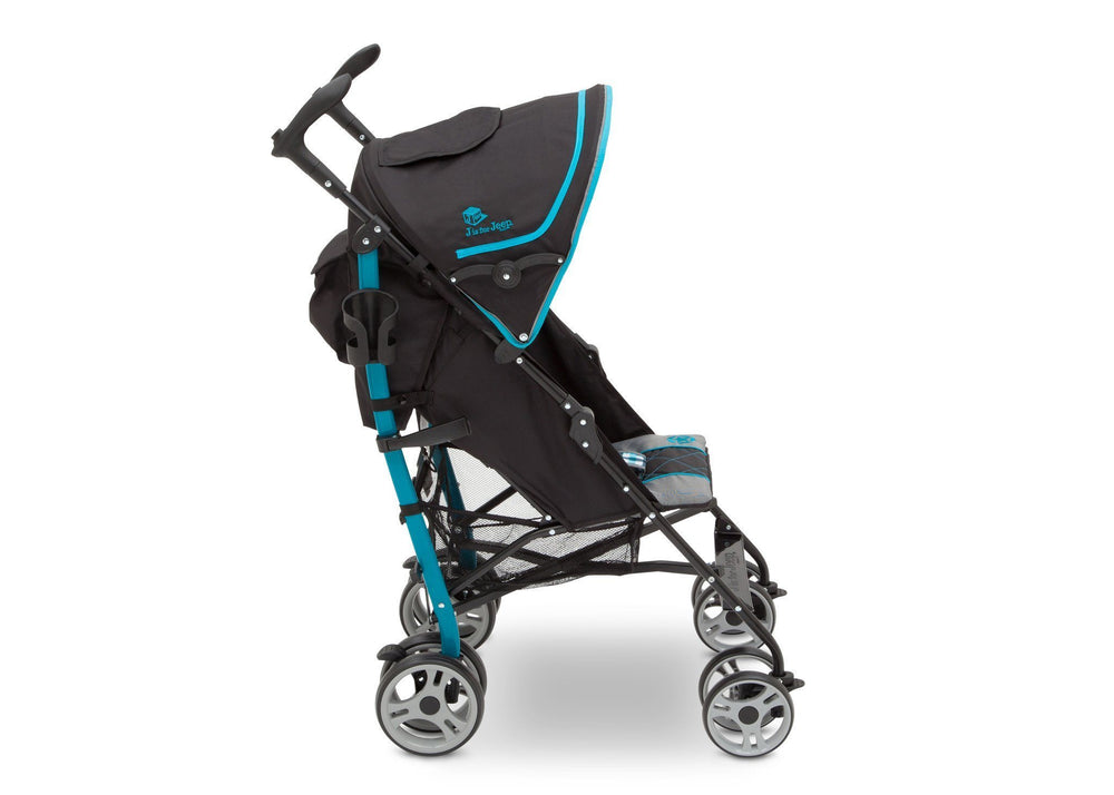 Delta Children J is for Jeep Brand Scout Stroller Sag Harbor (429) Full Right Side View, with Canopy a2a