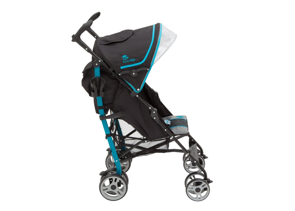 Delta Children J is for Jeep Brand Scout Stroller Full Right Side View, with Canopy and Sun Visor