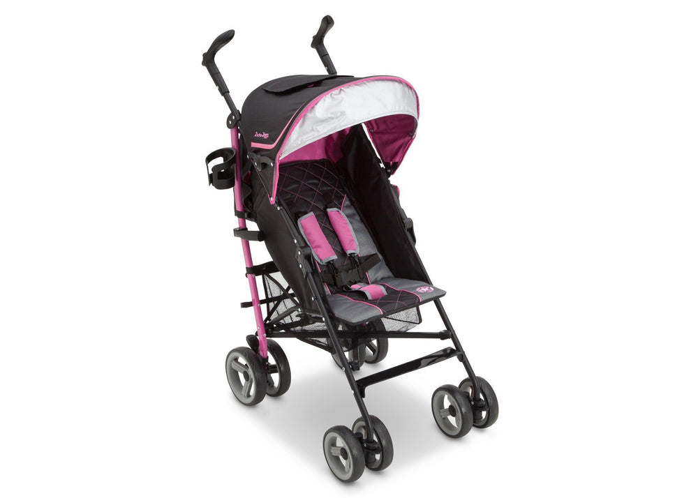 Delta Children J is for Jeep Brand Scout Stroller Berry Patch (659) Right Side View, with Canopy and Sun Visor b1b