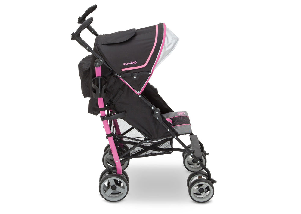 Delta Children J is for Jeep Brand Scout Stroller Berry Patch (659) Full Right Side View, with Canopy b2b