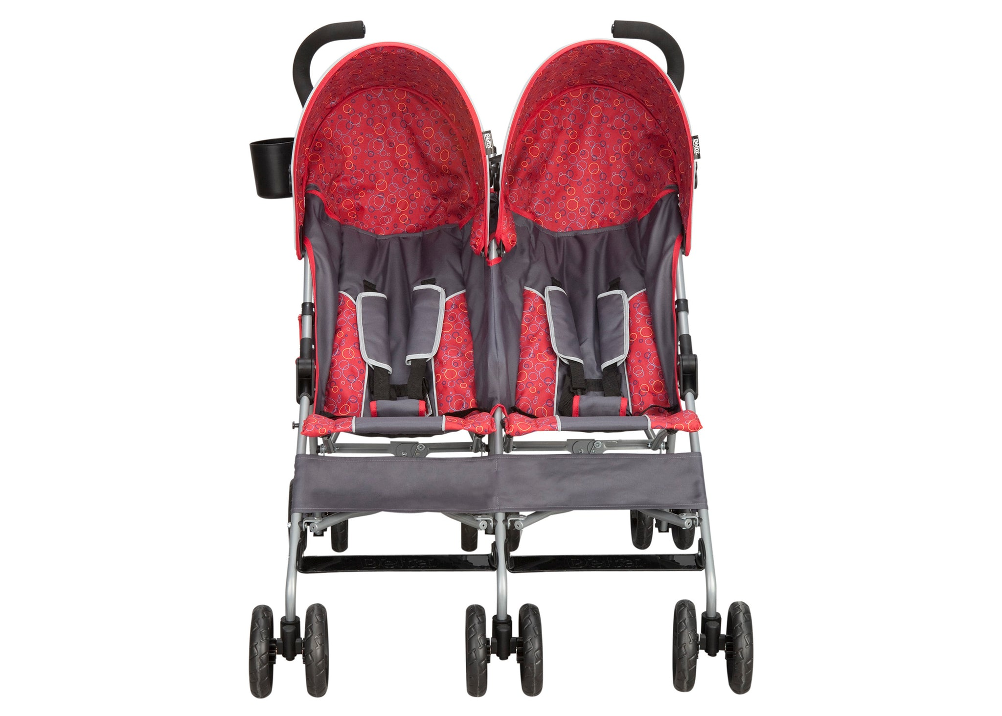 Delta Children Grey & Red (026) LX Side by Side Stroller (11701) Front View