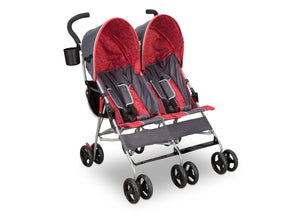 Delta Children Grey & Red (026) LX Side by Side Stroller c1c