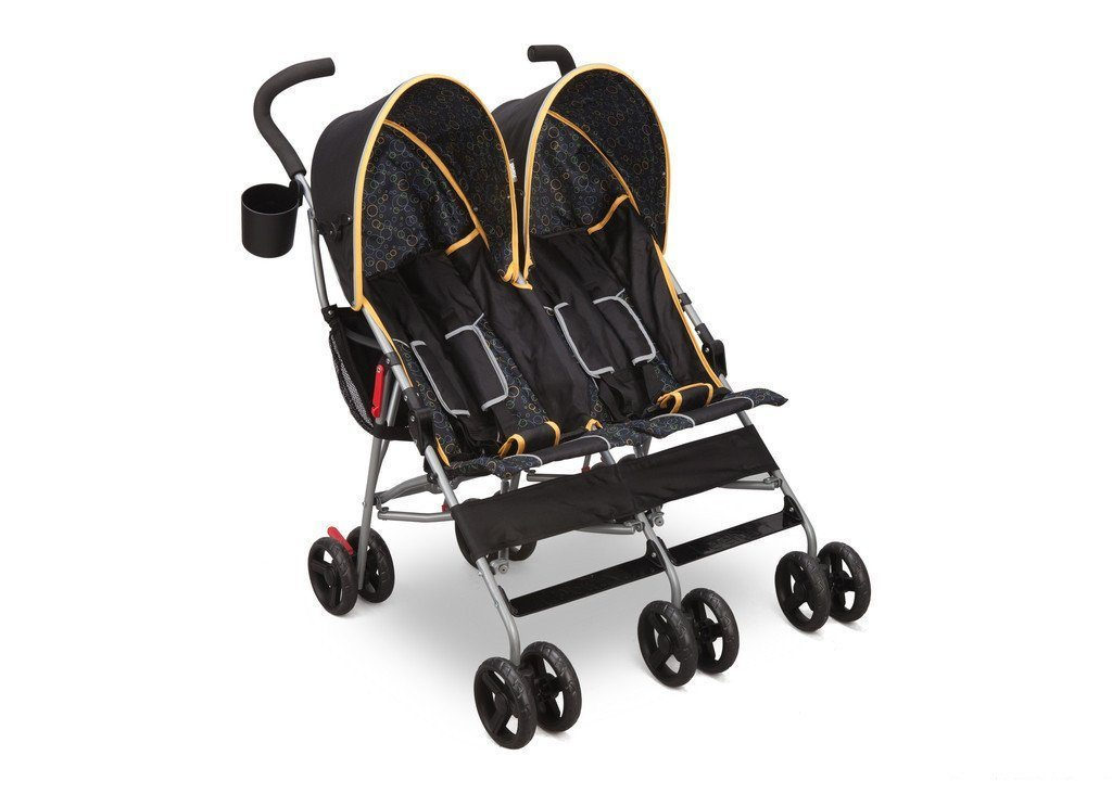 Delta Children Black & Orange (820) LX Side by Side Stroller f1f