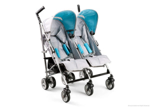 Simmons Kids Silver & Blue Tour LX Side by Side Stroller, Silver & Blue (046) Right Side View b1b