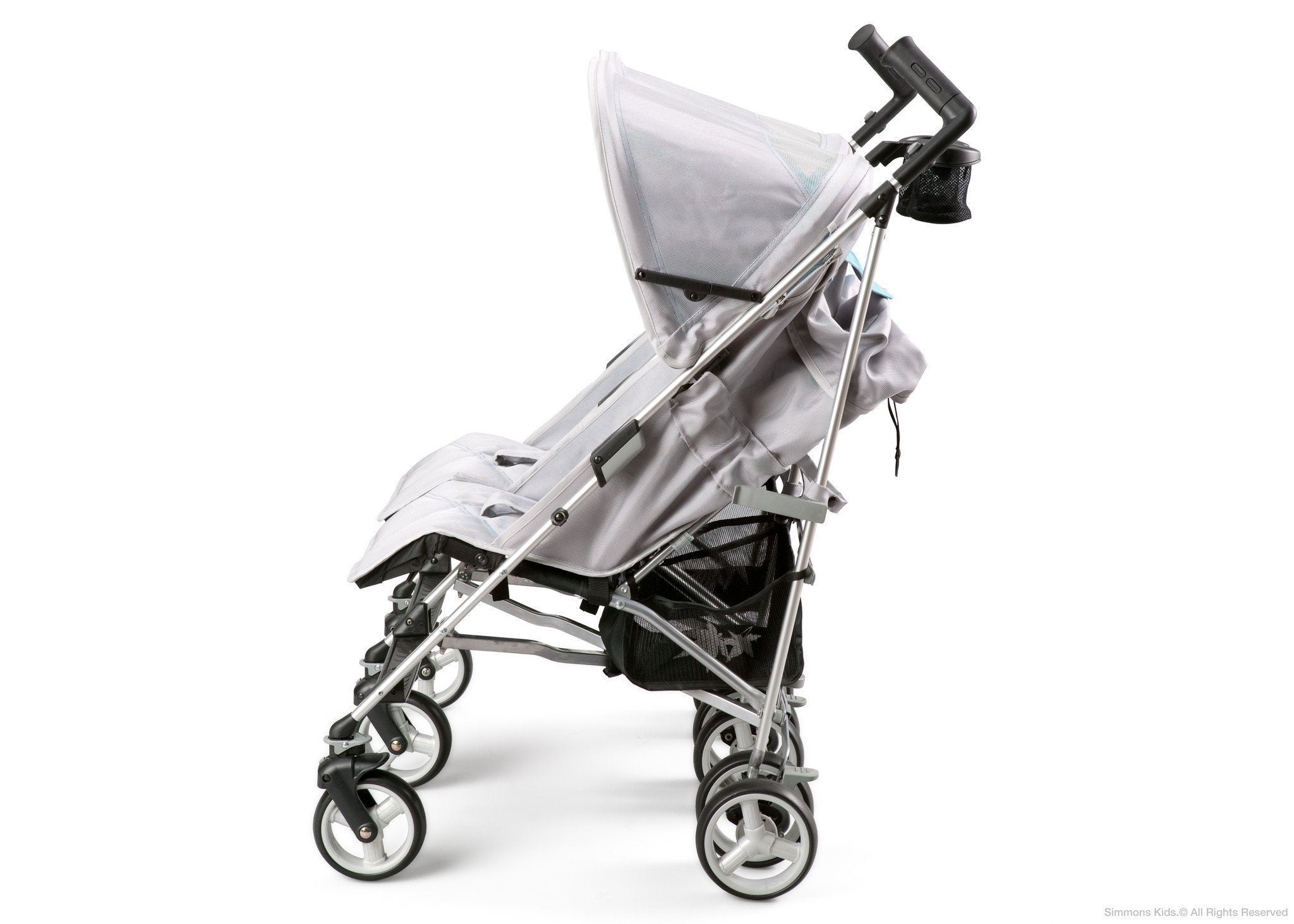 Simmons Kids Silver & Blue Tour LX Side by Side Stroller, Silver & Blue (046) Full Left Side View with Canopy b2b