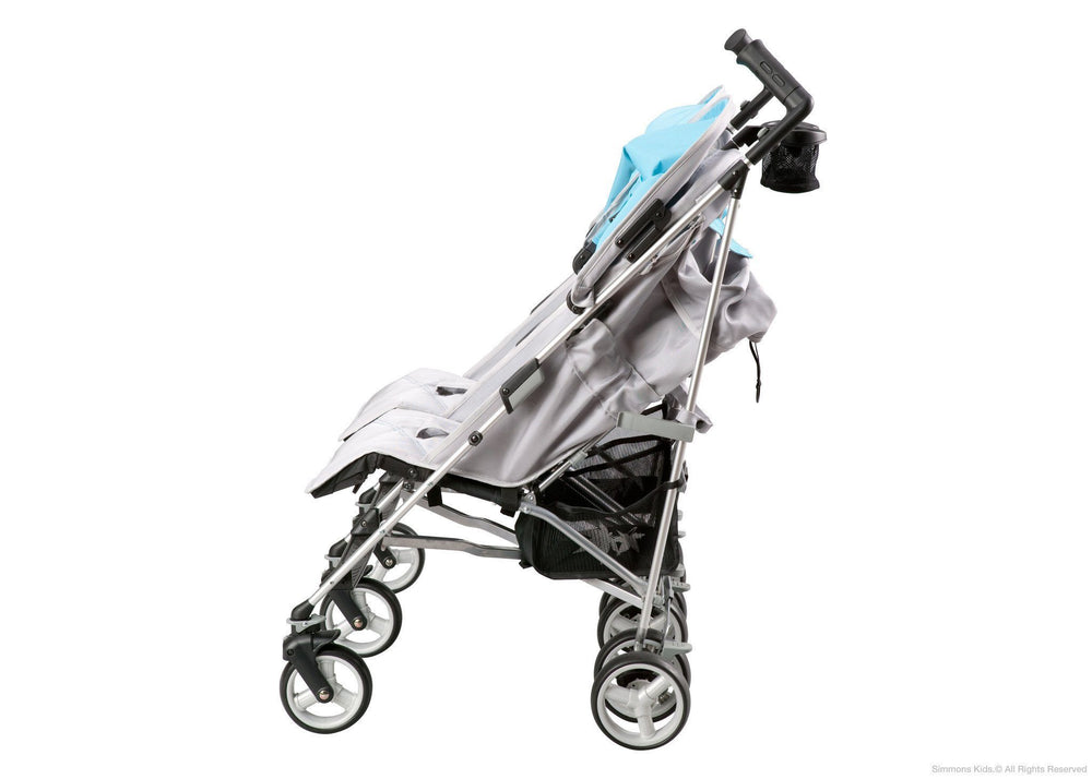 Simmons Kids Silver & Blue Tour LX Side by Side Stroller, Full Left Side View