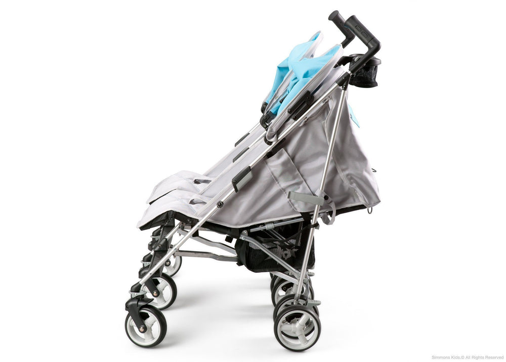 Simmons Kids Silver & Blue Tour LX Side by Side Stroller, Full Left Side View 2