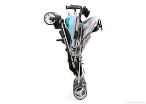 Simmons Kids Silver & Blue Tour LX Side by Side Stroller, Silver & Blue (046) Folded b3b