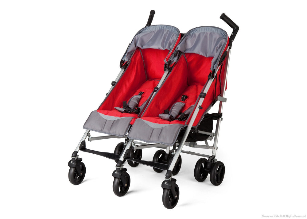 Simmons Kids Red Tour LX Side by Side Stroller, Left Side View